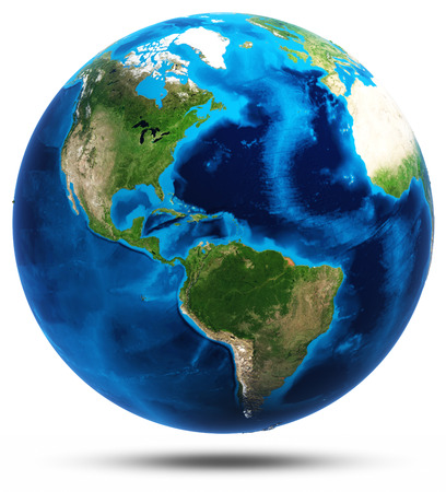 earth globe: America real mountains relief.