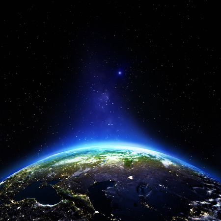 Russia night. Elements of this image furnished by NASA photo