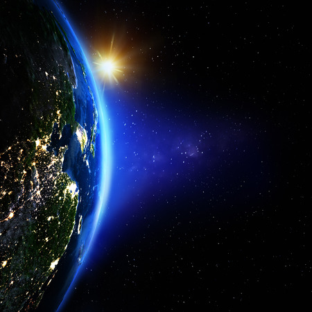 Planet Earth from space sunrise. Elements of this image furnished by NASA Stock Photo