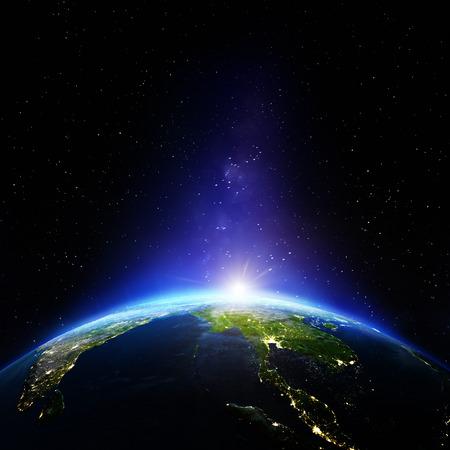 東南アジアの夜。NASA から提供されたこのイメージの要素 写真素材