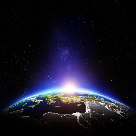 dia y noche: Noche Planeta Tierra. Foto de archivo