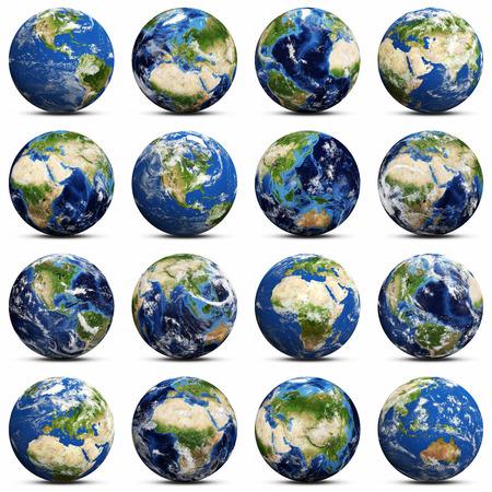 flat earth: Earth icons set.