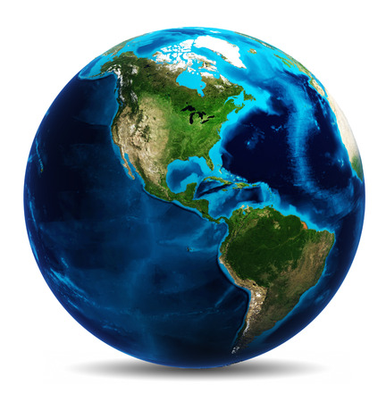 passages: Earth globe white isolated.
