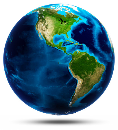 Planet Earth white isolated Stock Photo