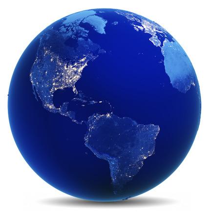 world globes: America white isolated.  Stock Photo