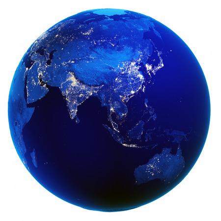 mapa Asia bílým ojedinělých.