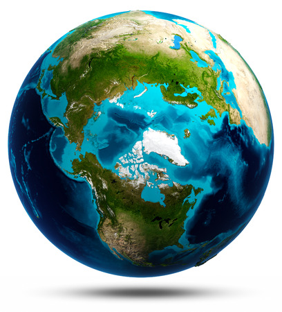 passages: Earth globe white isolated. Stock Photo