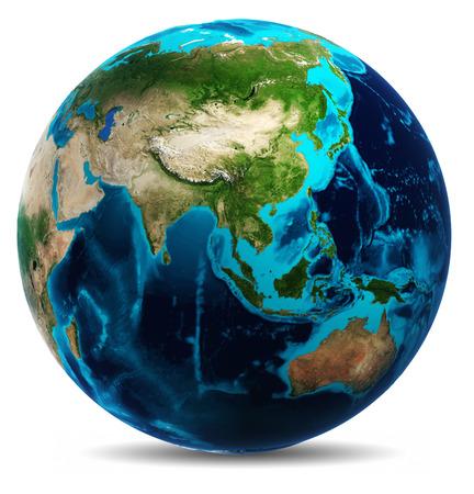 Planet Earth Weiß getrennt. Standard-Bild
