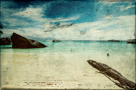 painting nature: Art vintage beach. Summer background