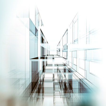 Modern architecture. Architecture design and 3d model my own Archivio Fotografico