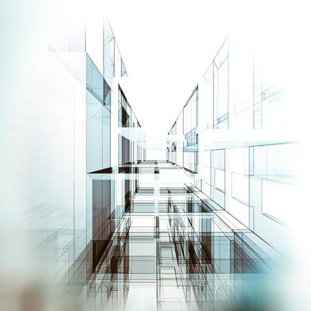 Modern architecture. Architecture design and 3d model my own Standard-Bild