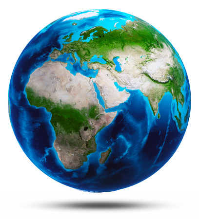 earth globe: Planet Earth white isolated. Elements of this image furnished by NASA