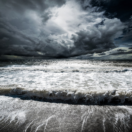 Ocean waves. Tropical hurricane cyclone