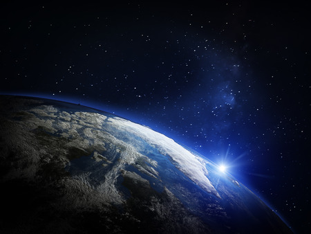 blue stars: Planet earth from space. Stock Photo