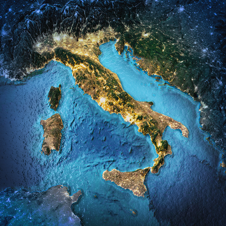Italy. Elements of this image furnished by NASA. 3D rendering Stock Photo