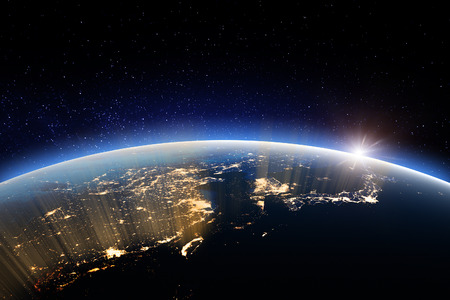 Planet at night. 3D Rendering. Stars my own photo. Elements of this image furnished by NASA