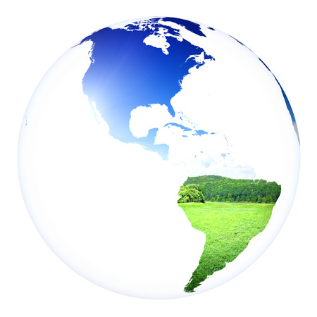 Planet Earth concept project sphere. White isolated