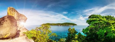 Tropical island in ocean between trees and rocks