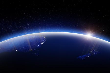 Globo del mondo durante la notte. Rendering 3D. Stelle la mia foto. Elementi di questa immagine forniti dalla NASA Archivio Fotografico - 85573294