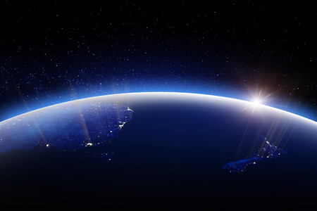 World globe at night. 3D Rendering. Stars my own photo. Elements of this image furnished by NASA