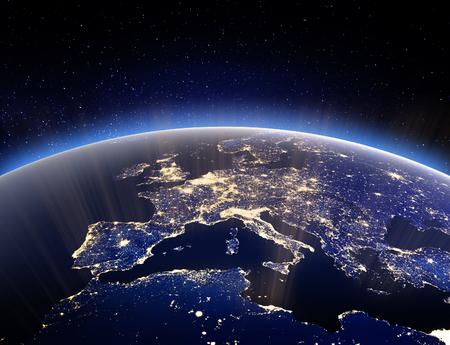 Globo del mondo - pianeta terra. Rendering 3D. Stars la mia foto. Elementi di questa immagine fornita dalla NASA