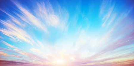 Sunrise summer sky panorama. Art air clouds background