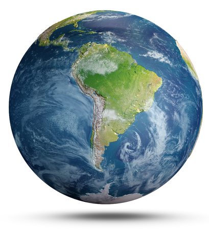 Planet Earth on white.  3d rendering Banco de Imagens