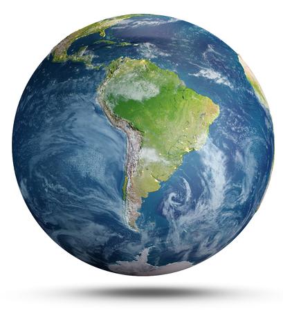 Planeta Ziemia na białym tle. Renderowanie 3d Zdjęcie Seryjne