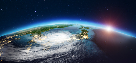 Japan cyclone 3d rendering Stock Photo