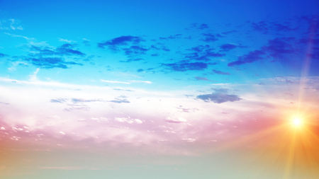 Sunrise summer sky panorama. Art air clouds background