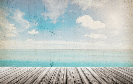 Tropical vintage beach landscape. Summer caribbean background