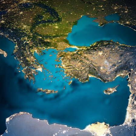 Turkey and Greece map. 免版税图像 - 115224426