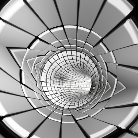 Silver abstract tunnel shapes futuristic 3d rendering 写真素材