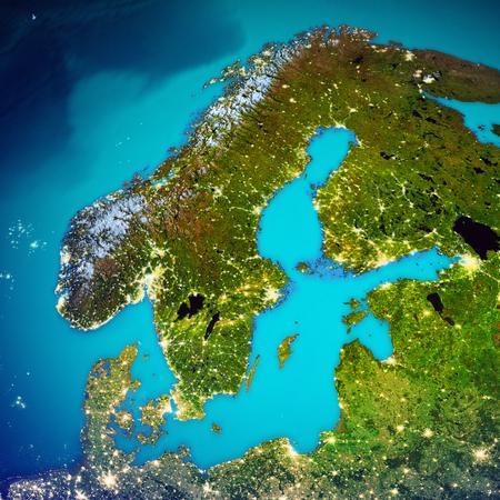 Skandinavien Weltraumkarte. Standard-Bild