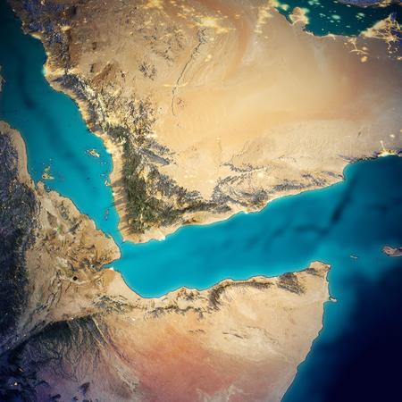 Kaart van Saoedi-Arabië en Somalië. 3D-rendering Stockfoto