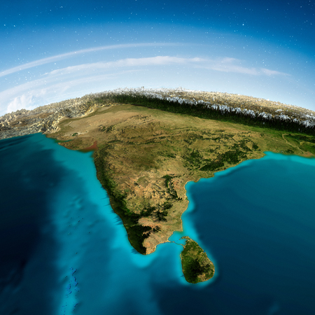 India mountains and sky.   3d rendering