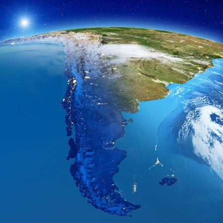 South America - Patagonia.  3d rendering