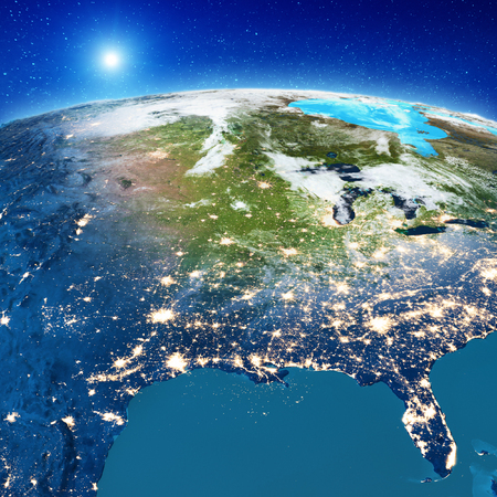 America from space.  3d rendering