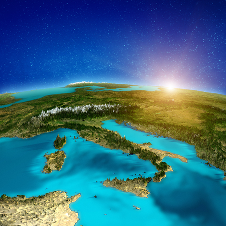 Italy peninsula background. 3d rendering Imagens