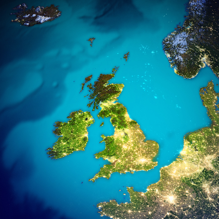 United Kingdom and Ireland map.  3d rendering