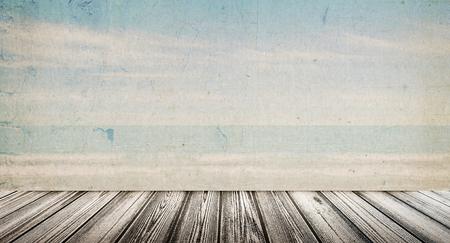 Tropical vintage beach landscape. Summer caribbean background