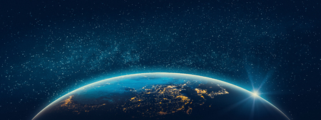 Planet Earth - Asia city lights. 3D Rendering. Stars my own photo. Zdjęcie Seryjne - 115787599