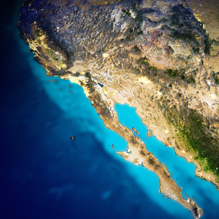 California and Pacific Mexico coast. 3d rendering Reklamní fotografie