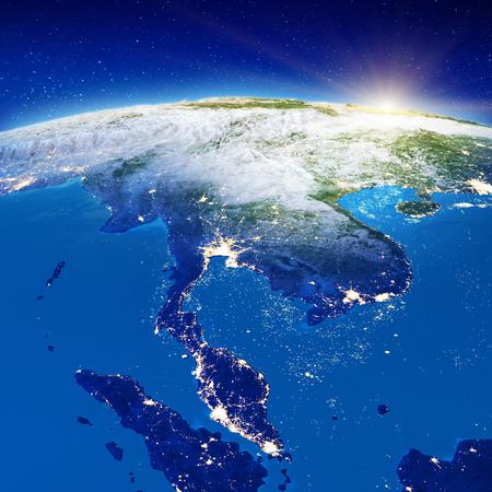 Sudeste de Asia: Tailandia y Malasia. Representación 3d
