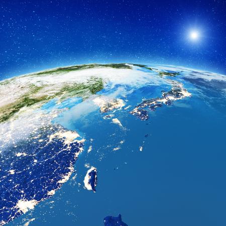 Luces de la ciudad de China y Japón. Representación 3d