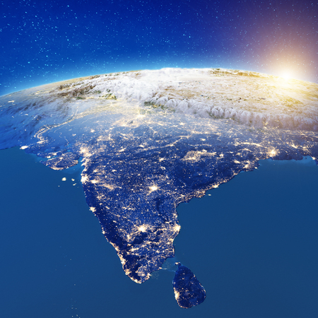 India from space. 3d rendering