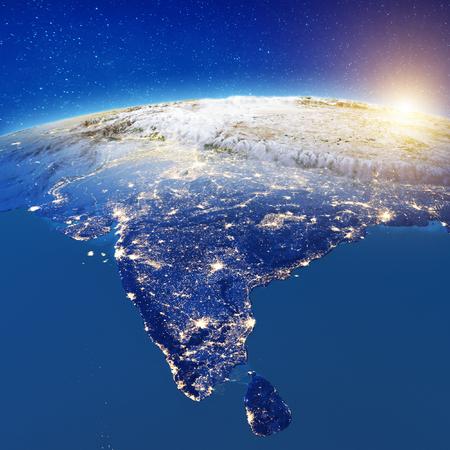 Indien aus dem Weltraum. 3D-Rendering