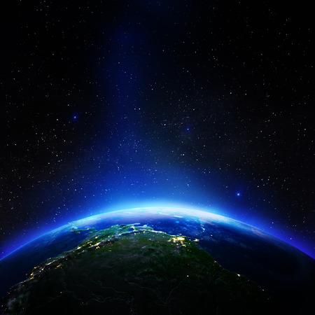 América del Sur desde el espacio. Representación 3d