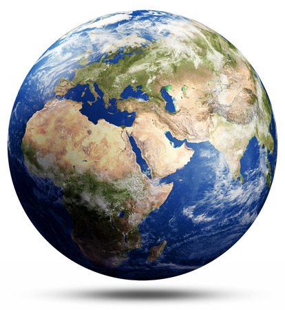 Planet Earth map globe. Stock Photo