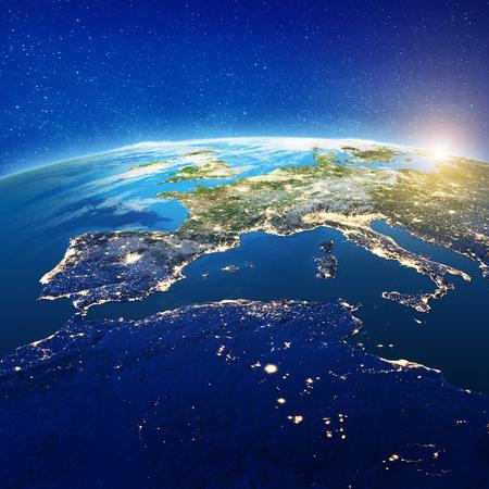 Europa y África del Norte. Elementos de esta imagen proporcionados por la NASA. Representación 3d Foto de archivo